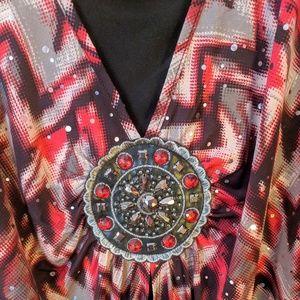 Essentials Red Sparkle Medallion Tunic 3X